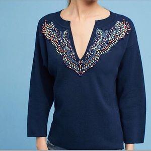 Anthropologie Moth Jeweled Navy Sweater